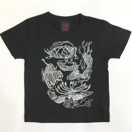 子供・半袖和柄Tシャツ「四神」(黒)