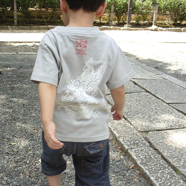 子供・半袖和柄Tシャツ「雲龍図」(シルバーグレー)