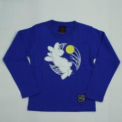子供・長袖和柄Tシャツ「月見うさぎ図 」(青)