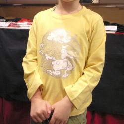 子供・長袖和柄Tシャツ「丸紋唐獅子図」(バナナ)