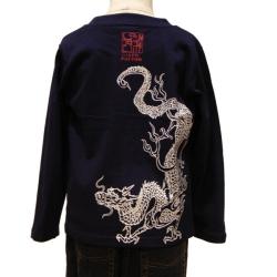 子供・長袖和柄Tシャツ「青龍図」(紺)