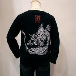 子供・長袖和柄Tシャツ「雲龍図」(黒)