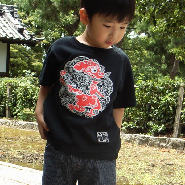 子供・半袖和柄Tシャツ「丸紋唐獅子図」(黒)