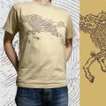 半袖和柄Tシャツ「麒麟走図」(キャメル)
