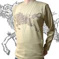 長袖和柄Tシャツ「麒麟走図」(キャメル)