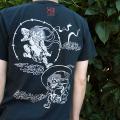 半袖和柄Tシャツ「風神雷神図」(黒×白)