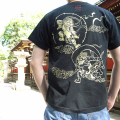 半袖和柄Tシャツ「風神雷神図」(黒×黄)