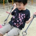 子供・半袖和柄Tシャツ「桜図」(黒)