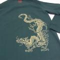 【数量限定】和柄抜染ラガーシャツ「青龍図」(グリーン)