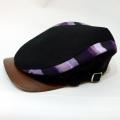 【数量限定】ハンチング/伊予かすり「黒デニム×紫縞かすり」2