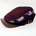 【数量限定】ハンチング/伊予かすり「コーデュロイワイン×紫縞かすり」2