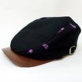 【数量限定】ハンチング/伊予かすり「黒デニム×黒紫かすり」2