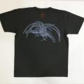 半袖和柄Tシャツ「鳳凰図」(墨黒 濃グレー)