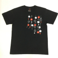 半袖和柄Tシャツ「しだれ梅図」(黒)