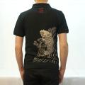 【オープンセール・数量限定】和柄抜染ポロシャツ「鯉図」(ブラック)