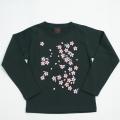 子供・長袖和柄Tシャツ「桜(黒) 」