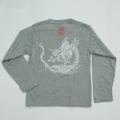 子供・長袖和柄Tシャツ「雲龍図」(ミックスグレー)