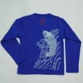 子供・長袖和柄Tシャツ「鯉図」(青)