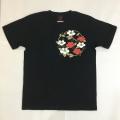 半袖和柄Tシャツ「椿」(黒)