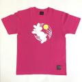 半袖和柄Tシャツ「月見うさぎ図」(ピンク)