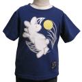 子供・半袖和柄Tシャツ「月見うさぎ図」(青)