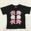 子供・半袖和柄Tシャツ「牡丹」(黒)
