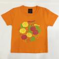 子供・半袖和柄Tシャツ「菊」(橙)