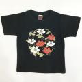 子供・半袖和柄Tシャツ「椿」(黒)