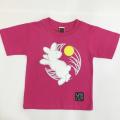 子供・半袖和柄Tシャツ「月見うさぎ図」(ピンク)