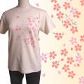 半袖和柄Tシャツ「桜図」(ナチュラル)