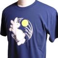 半袖和柄Tシャツ「月見うさぎ図」(青)