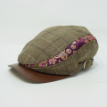 【数量限定】ハンチング/金襴「茶毛織りチエック×紫亀甲」