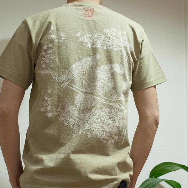 半袖和柄Tシャツ「松鷹図」