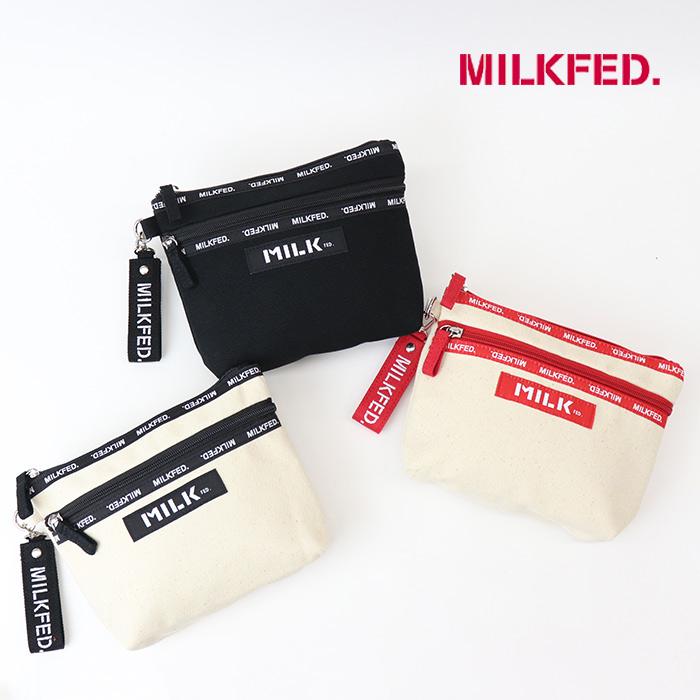 MILKFED ミルクフェド  LOGO TAPE DOUBLE ZIP POUCH ロゴテープダブルジップポーチ  103213054004