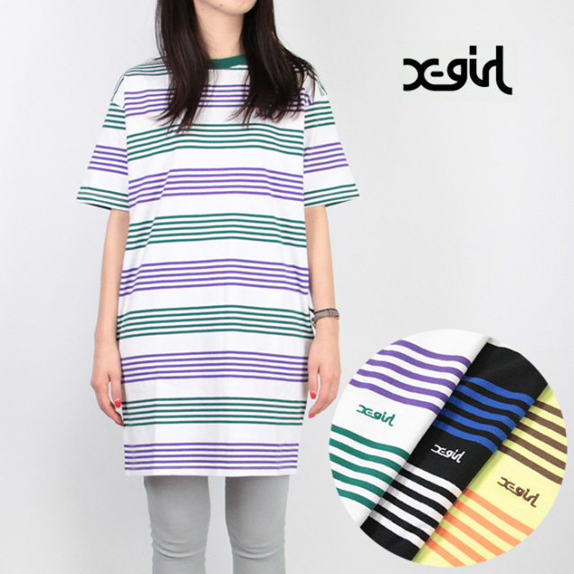 X-girl/エックスガール STRIPED H/S TEE DRESS 05191910