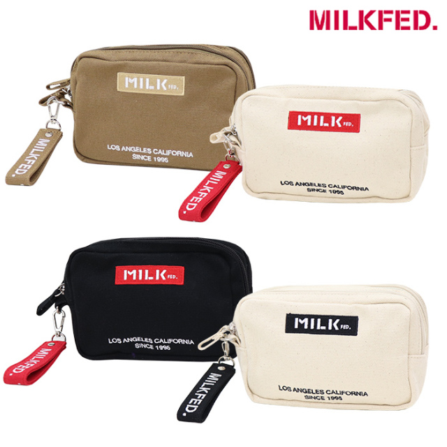MILKFED ミルクフェド  EMBROIDERED BAR DOUBLE ZIP POUCH ダブルジップポーチ