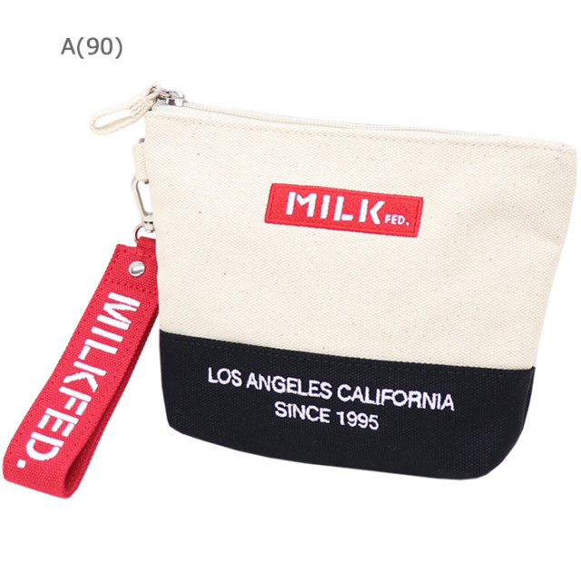 MILKFED ミルクフェド  EMBROIDERED BAR DAILY POUCH デイリーポーチ
