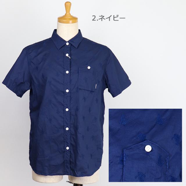 Chloro sister クロロシスター  レディース キャット刺繍半袖シャツ C304L