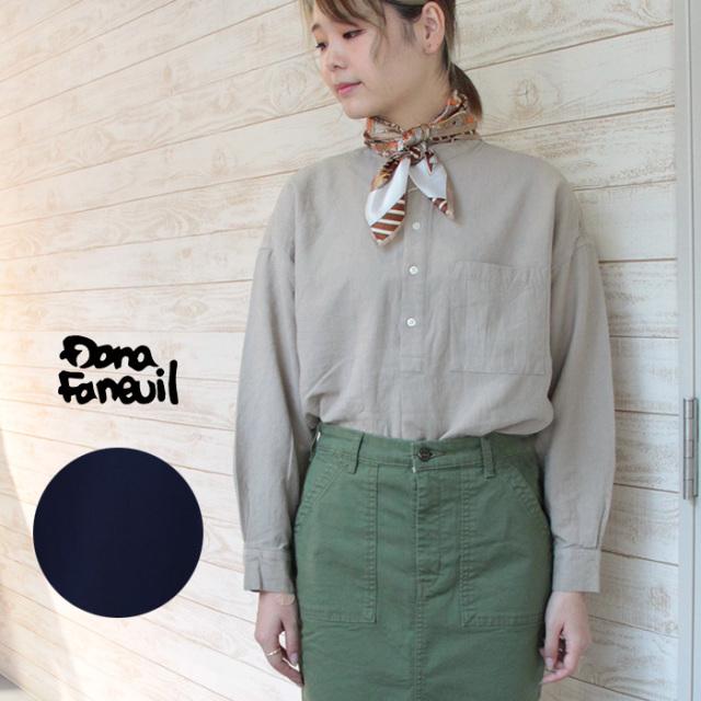 Dana Faneuil ダナファヌル レディース 先染ペーパーツイルダンガリーワッシャーバンドカラーシャツ D-6320302
