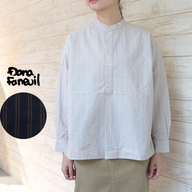 Dana Faneuil ダナファヌル <レディース> ストライプバンドカラーシャツ D-6320303
