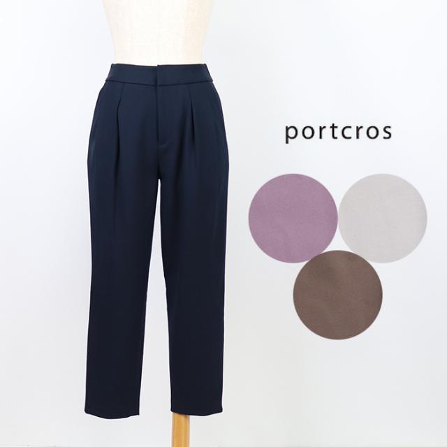 portcros ポートクロス  レディース  ウォーム裏起毛タックテーパードパンツ I-8496