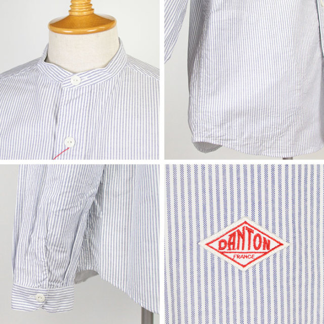 DANTON,ダントン,長袖バンドカラーシャツ,JD-3607TRD