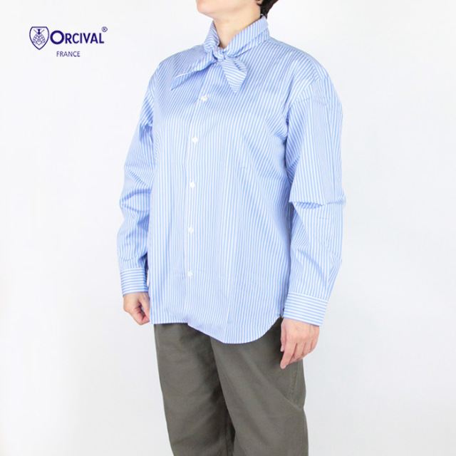 ORCIVAL オーシバル レディース コットンストライプタイカラーシャツ OR-B0021CPS