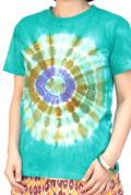 トップス■インド製コットンのタイダイTシャツ(グリーン)