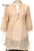 シャツ■ウッドボタンのコットンシャツ(BEIGE)【メール便対応】
