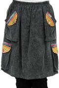 モン族刺繍ポケット膝丈スカート(ブラック)