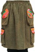 モン族刺繍ポケット膝丈スカート(カーキ)