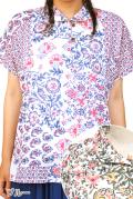 花がらプリント丸襟ブラウス半袖(ブルー/グリーン)