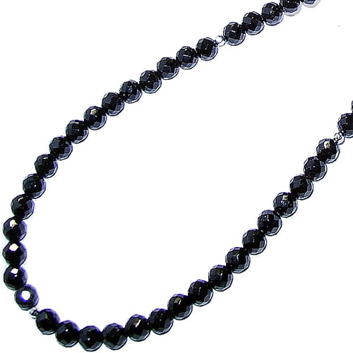 高品質石使用・ブラックトルマリンネックレス(サッカーボールカット) 長さ:約53cm(男性用) 送料無料