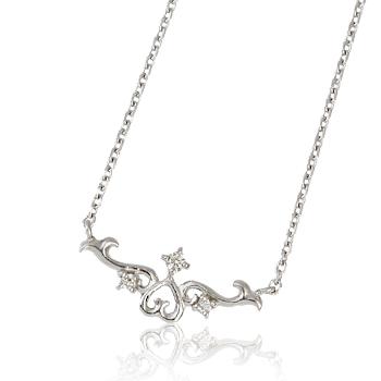 K18金WG(ホワイトゴールド)ティアラデザイン・ダイヤモンドネックレス(A)・送料無料